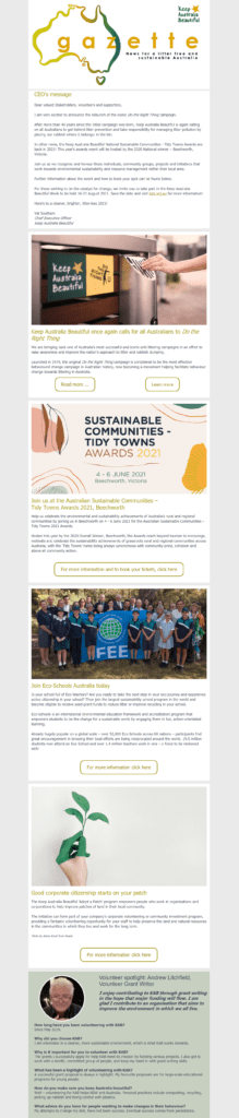Nonprofit email newsletter example from Keep Australia Beautiful