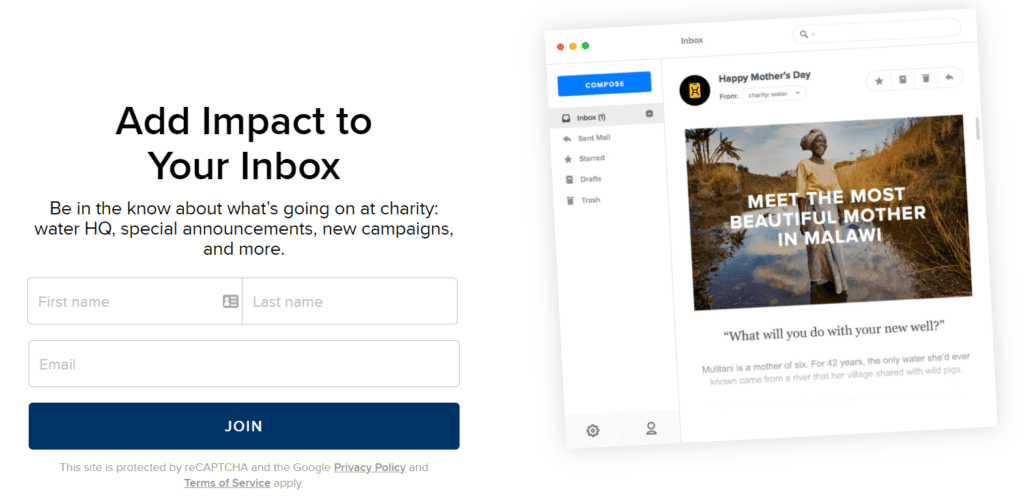 Landing page for nonprofit charity: water's email signup form
