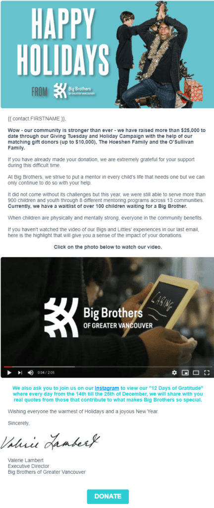 End-of-year fundraising email follow-up by Big Brothers Vancouver