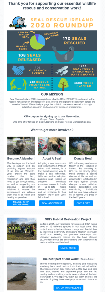 Nonprofit welcome email example from Seal Rescue Ireland