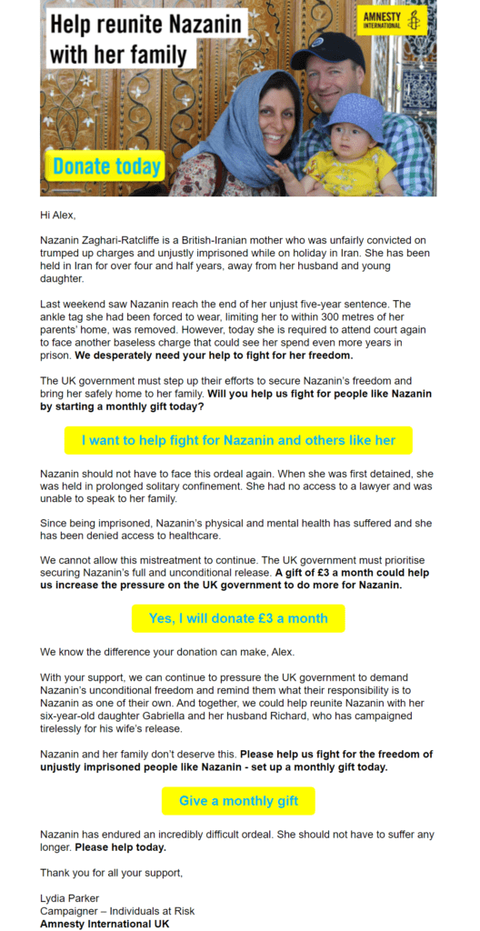 Fundraising email example by Amnesty International with multiple, varied CTAs