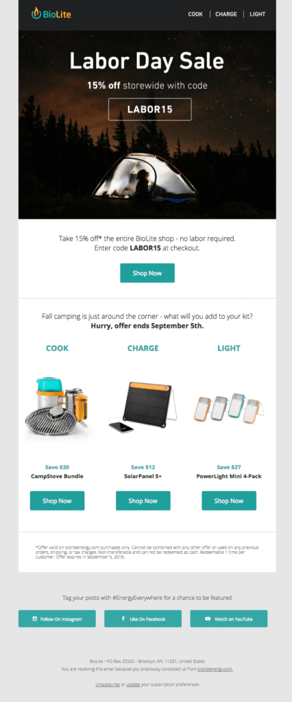 Labor Day sale email example by BioLite promoting relevant products