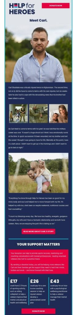 Example of storytelling in a fundraising email by Help for Heroes