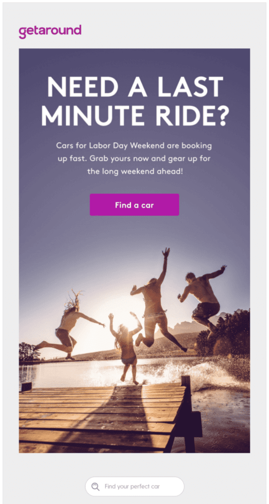 End-of-summer themed labor day email design example by getaround using nostalgic imagery