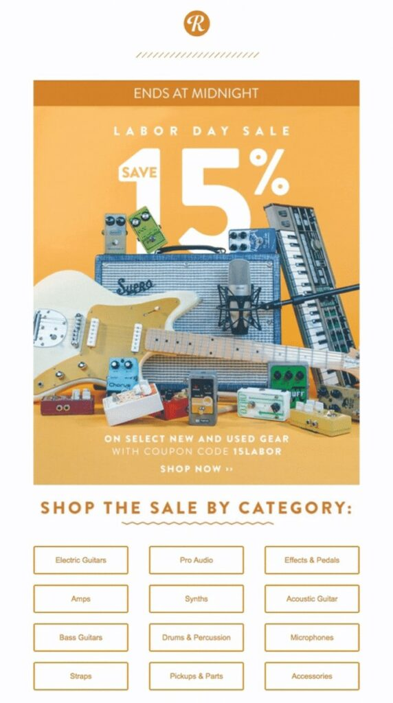 Labor Day email example by Reverb promoting a sitewide sale