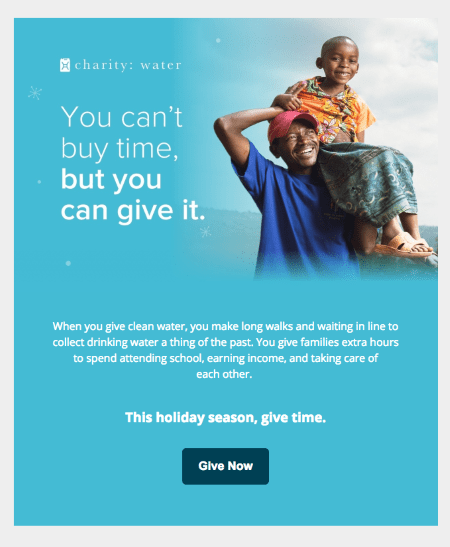 Fundraising email template with a minimalist design by charity : water