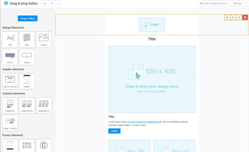 Sendinblue's responsive drag and drop email builder