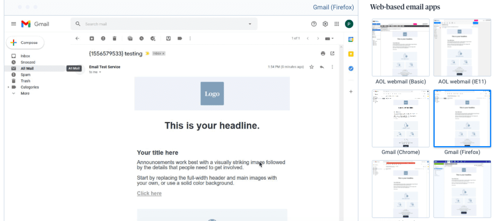 Sendinblue email preview tool to view an email design on different clients