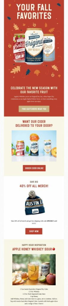 Fall-themed newsletter by Austin Eastciders