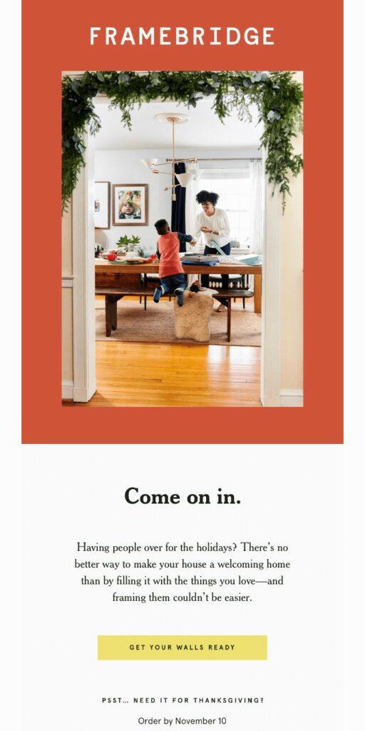 Thanksgiving newsletter by Framebridge evoking the fall holiday season