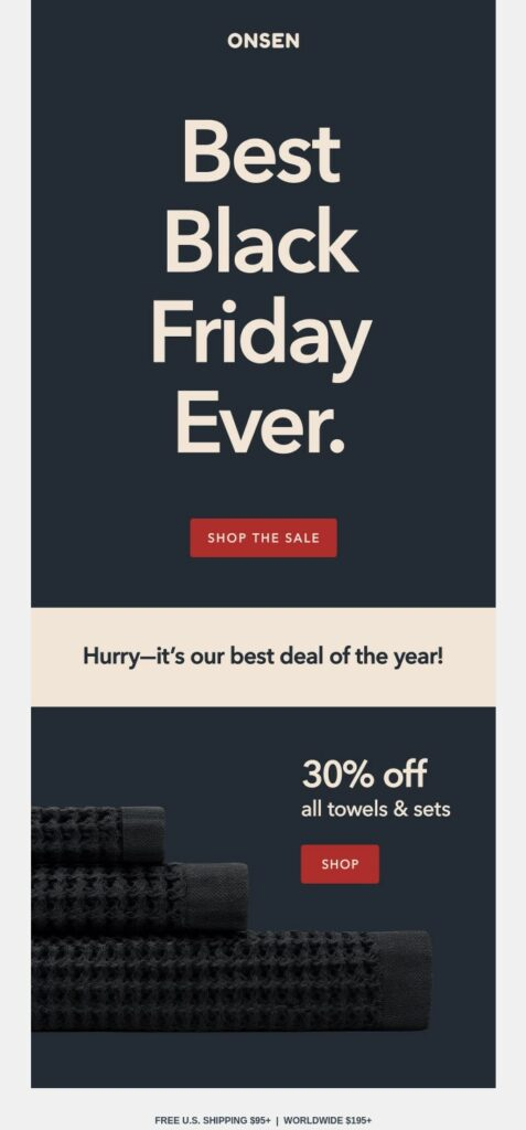 Black Friday sale email campaign using urgency bu Onsen