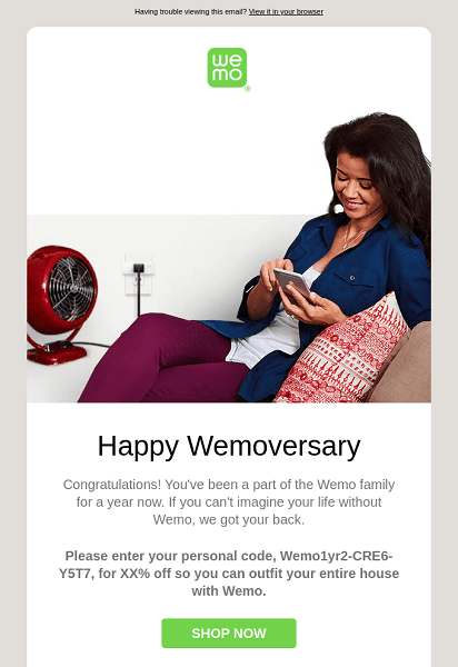 An example of an email triggered at the customer's anniversary from the first order