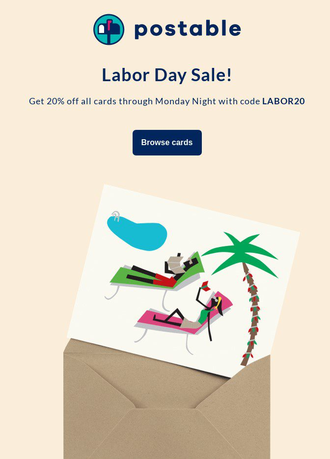 Larbor Day Sale newsletter example by Postable