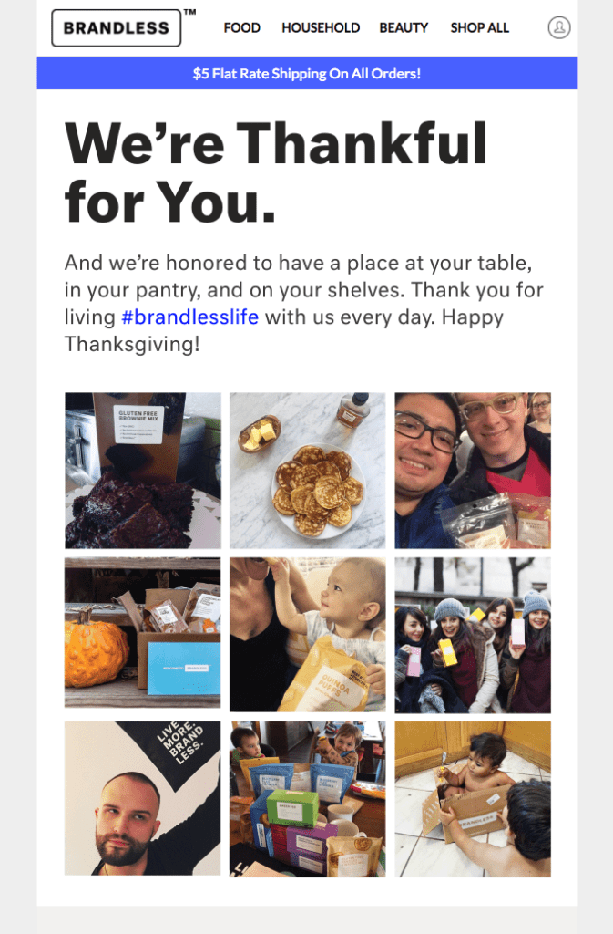 Thanksgiving newsletter by Brandless that says thank you to customers