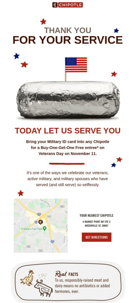 Veteran's Day offer email by Chipotle