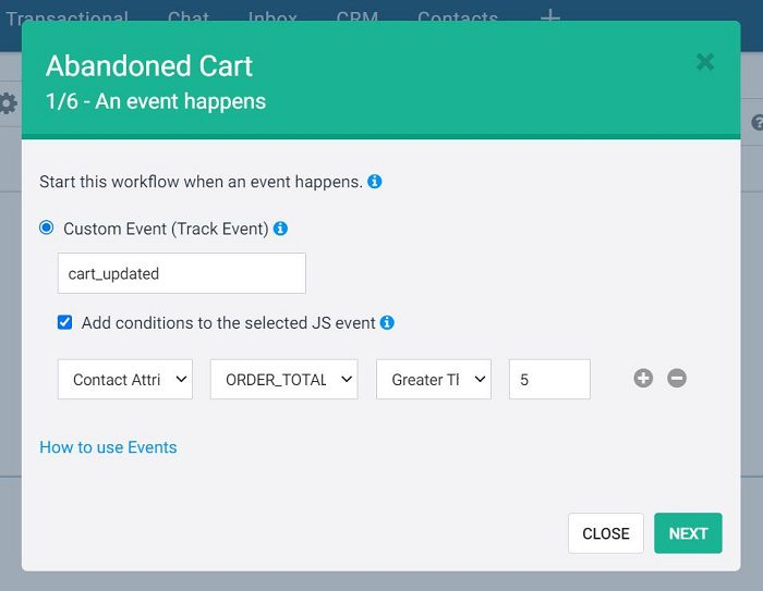adding conditions to an abandoned cart event in Sendinblue when creating an automated workflow