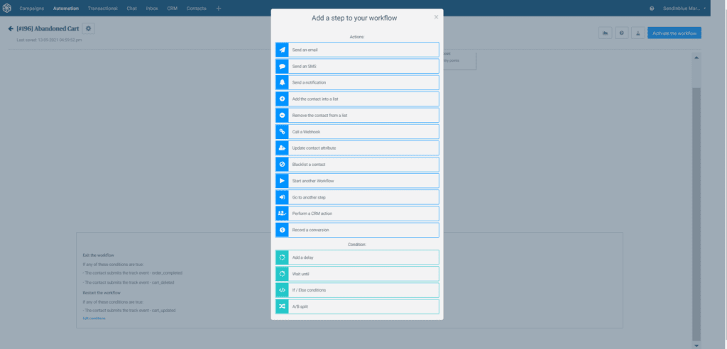 how to add a step in an an automated workflow in Sendinblue