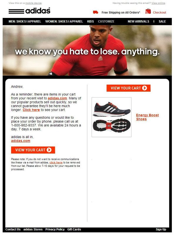 a cart abandonment email by adidas