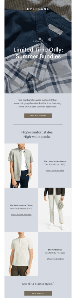 email with bundle offer by everlane