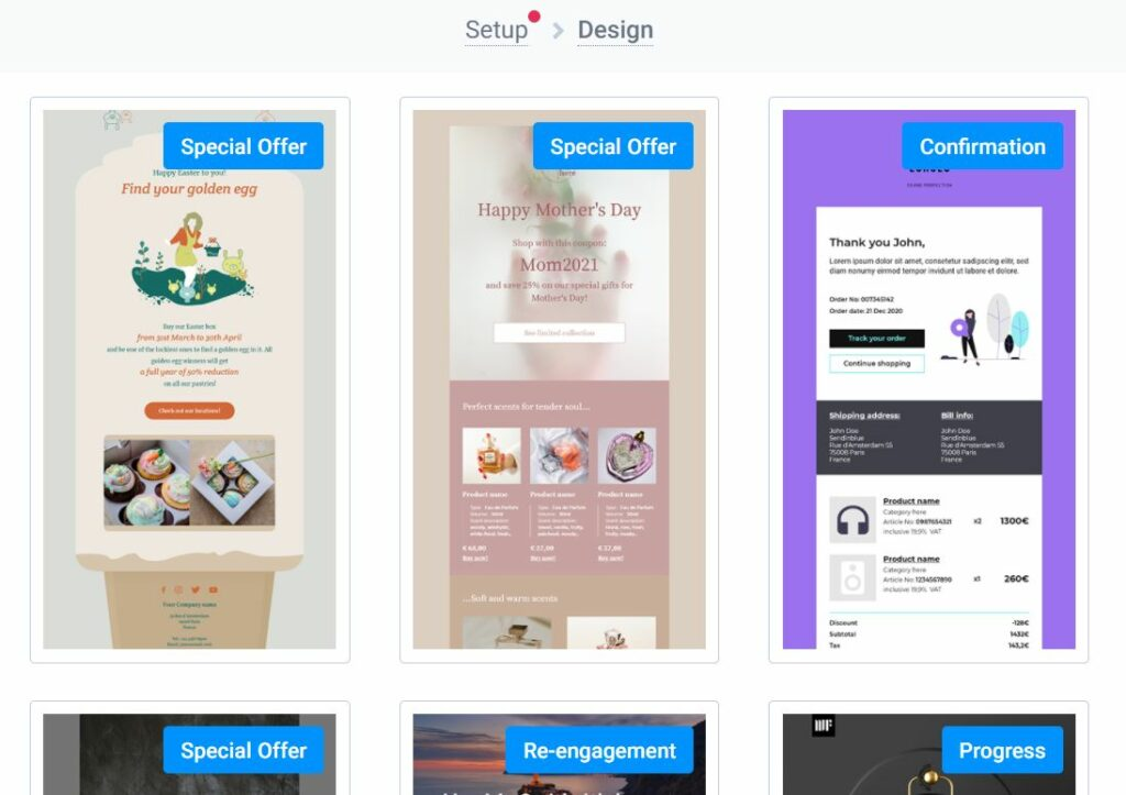 ready email templates by Sendinblue