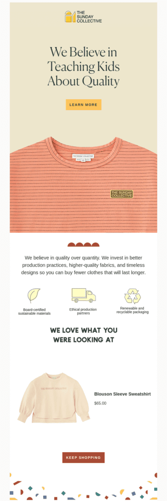 a cart abandonment email by The Sunday Collective where they talk about their values