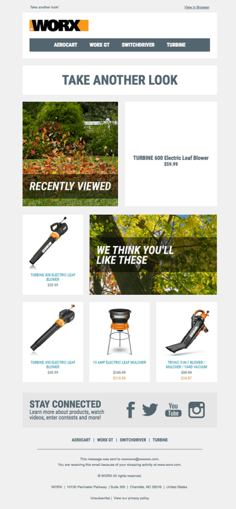 a cart abandonment email by worx with related products